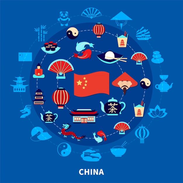 Reizen naar china set Gratis Vector