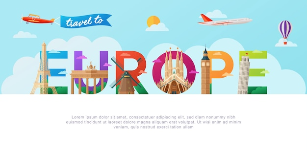 Reizen naar europa belettering typografie Premium Vector
