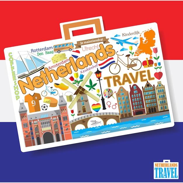 Reizen naar nederland. stel dutchicons en symbolen in de vorm van een koffer Premium Vector