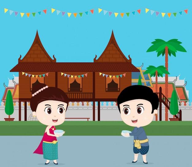 Reizen naar thailand. kinderen vieren op songkran-festival. vector illustratie Premium Vector