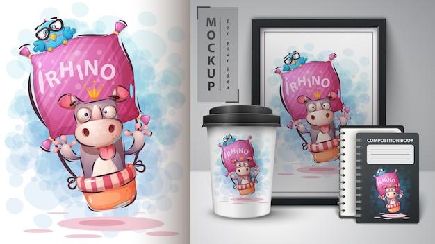 Reizen neushoorn illustratie en merchandising Premium Vector