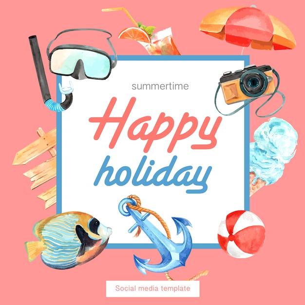 Reizen op vakantie zomer het strand palmboom vakantie frame krans Gratis Vector