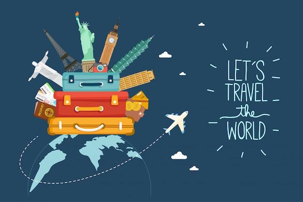 Reizen per vliegtuig. wereldreis. planning van zomervakanties. toerisme en vakantie thema. Premium Vector