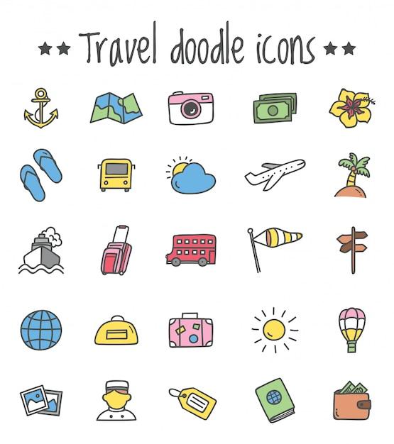 Reizen pictogrammenset in doodle stijl Premium Vector
