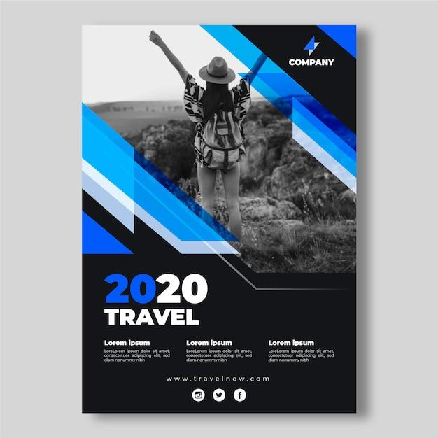 Reizen poster sjabloon concept Gratis Vector