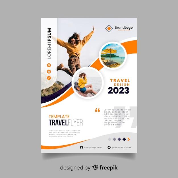 Reizen poster sjabloon met afbeelding Gratis Vector