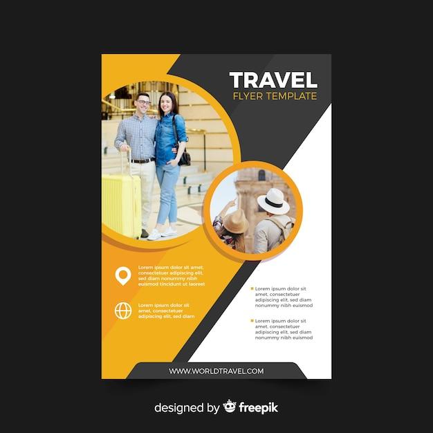 Reizen poster sjabloon met foto Gratis Vector
