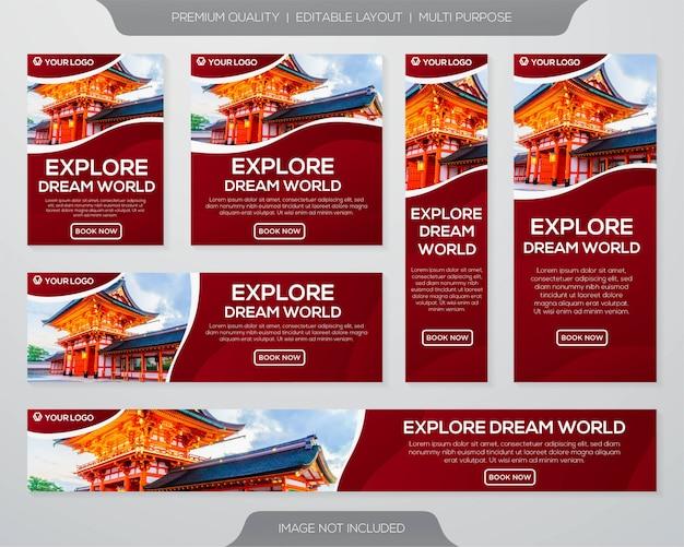 Reizen promotie banner collectie sjabloon Premium Vector