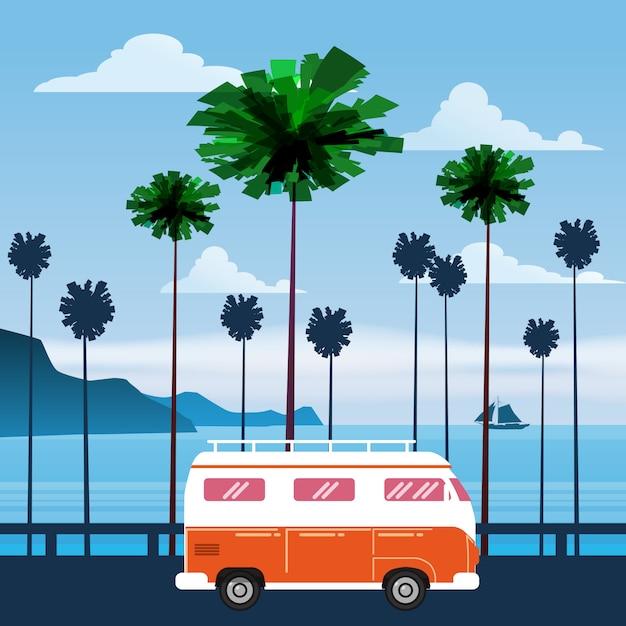 Reizen, reis vectorillustratie Premium Vector