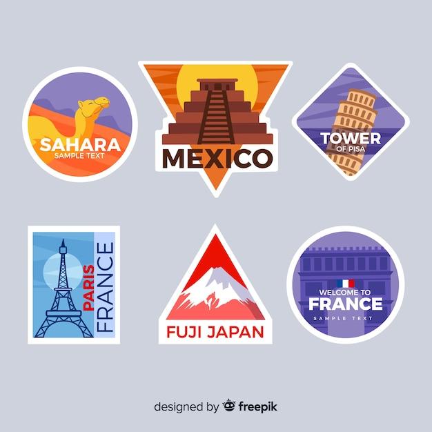 Reizen stickers collectie Gratis Vector
