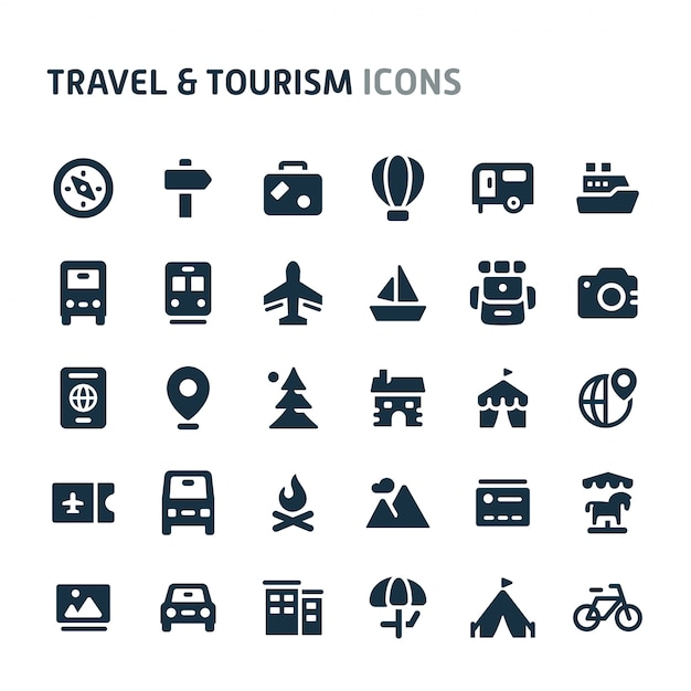 Reizen & toerisme icon set. fillio black icon-serie. Premium Vector