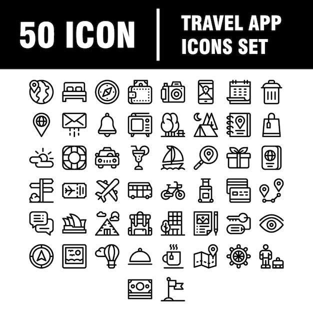 Reizen, toerisme, reis, reis, vakantie overzicht icon set. Premium Vector