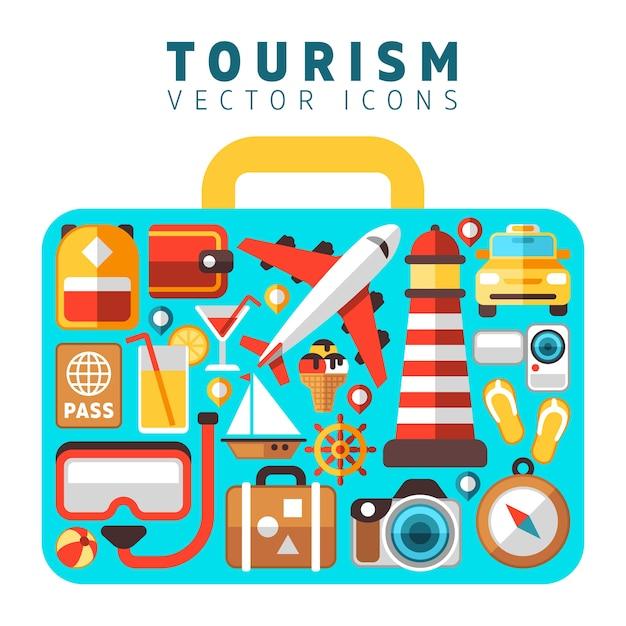 Reizen vakantie vakantie concept met platte toerisme vector iconen in koffer vorm. set van pictogrammen strand Premium Vector