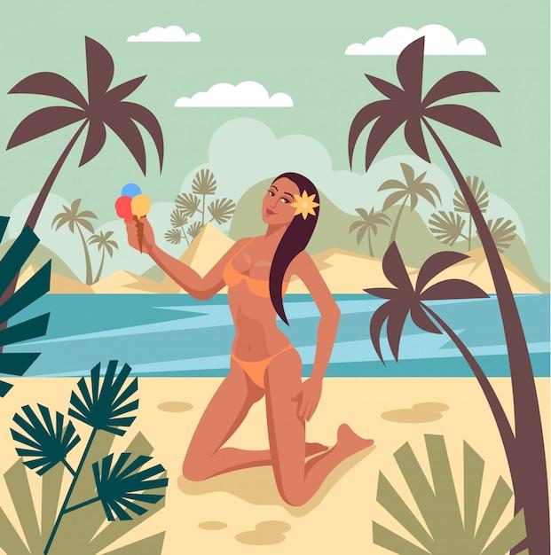 Reizen vakantie zomertijd banner concept Premium Vector