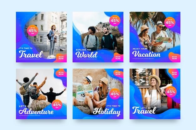 Reizen verkoop instagram post collectie Premium Vector