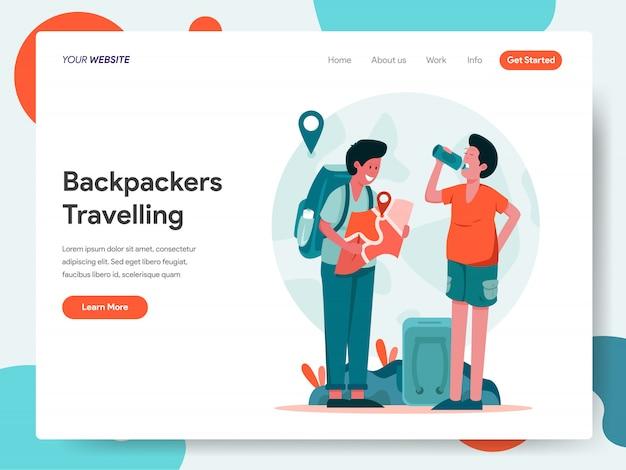 Reizende backpackers banner voor bestemmingspagina Premium Vector