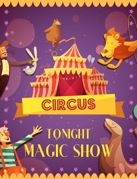 Reizende magische circus toont retro affiche van de beeldverhaalaankondiging met de leeuw van de tentverbinding en clownprestaties vectorillustratie Gratis Vector