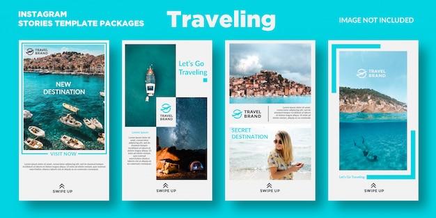 Reizende pakketten met sjablonen voor instagramverhalen Premium Vector