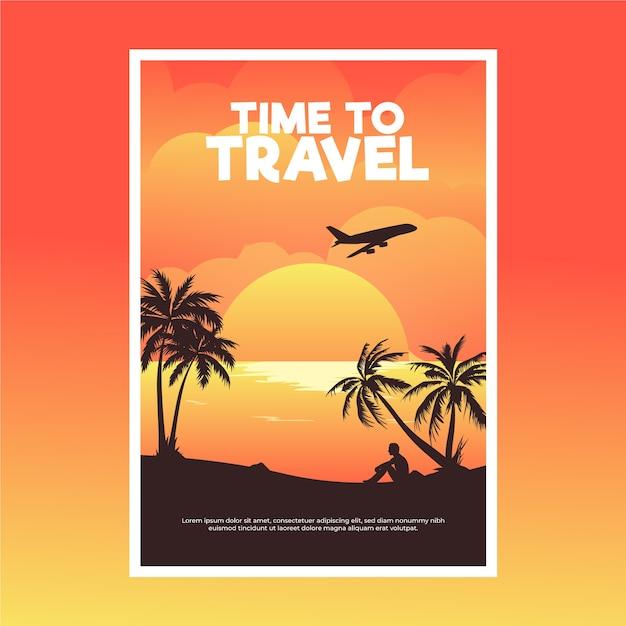 Reizende poster met vliegtuig en palmen Gratis Vector