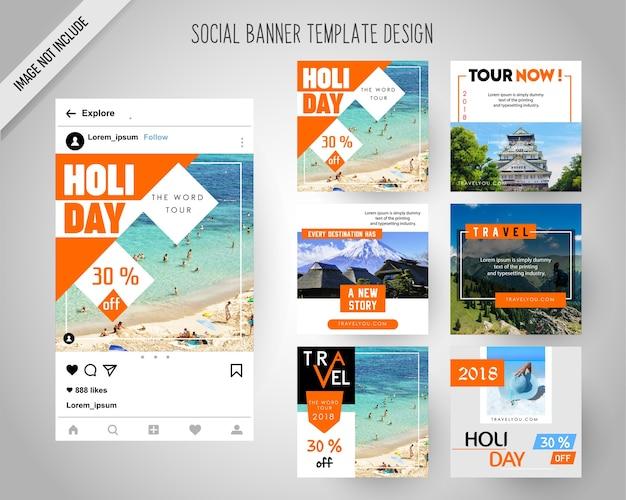 Reizende sociale mediabanners voor digitale marketing Premium Vector