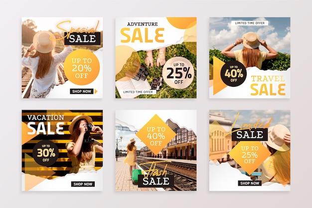 Reizende verkoop instagram-berichten Premium Vector