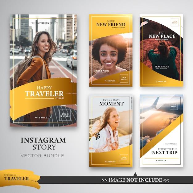 Reiziger instagramverhalen sjabloonbundel in goudkleur. Premium Vector