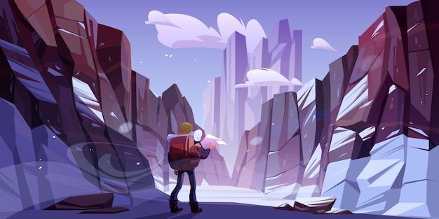 Reiziger man bij winter bergen, reisreis Gratis Vector