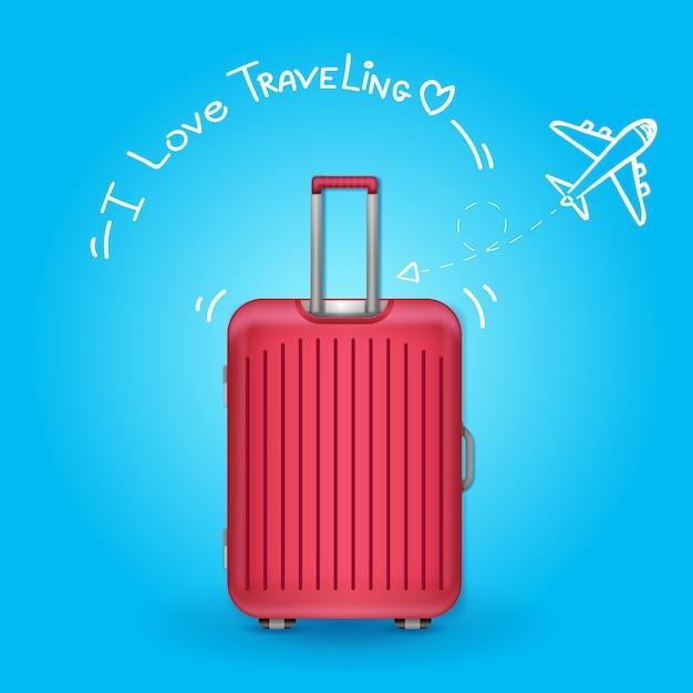 Reiziger met bagage. vliegtuig check-in punt reizen rond de wereld concept op achtergrondontwerp. Premium Vector