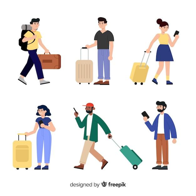 Reizigers met koffercollectie Gratis Vector