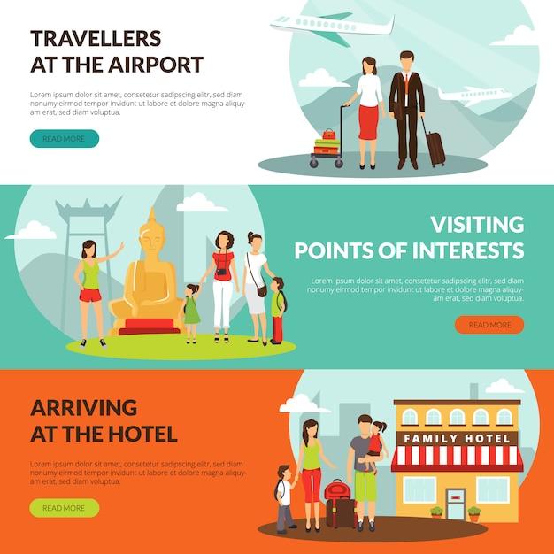 Reizigers op luchthaven in hotel en sightseeingsexcursie horizontale die banners voor toeristen worden geplaatst Gratis Vector