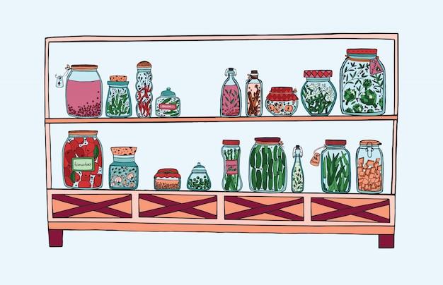 Rek met ingemaakte potten met groenten, fruit, kruiden en bessen op planken, herfst gemarineerd voedsel. kleurrijke illustratie. Premium Vector