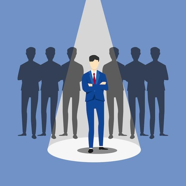 Rekrutering bedrijfsconcept. zakenman inhuren. focus op één man met schijnwerpers Premium Vector