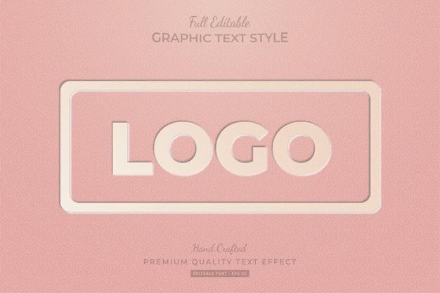 Reliëf vintage logo bewerkbare aangepaste tekststijl effect premium Premium Vector