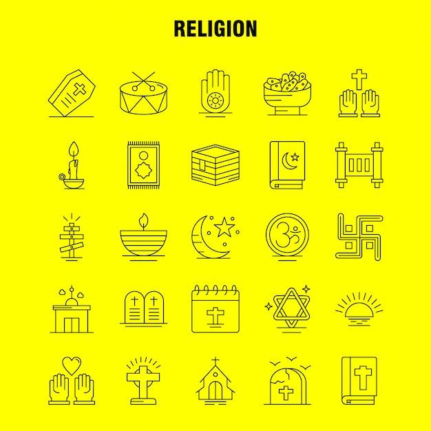 Religie lijn icons set: kist, vakantie, religie, religie, bidden, kerk, moslim Gratis Vector