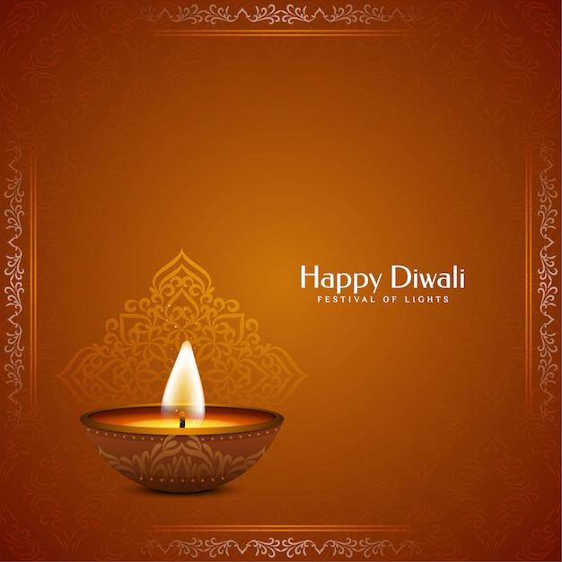 Religieuze bruine kleur happy diwali Gratis Vector