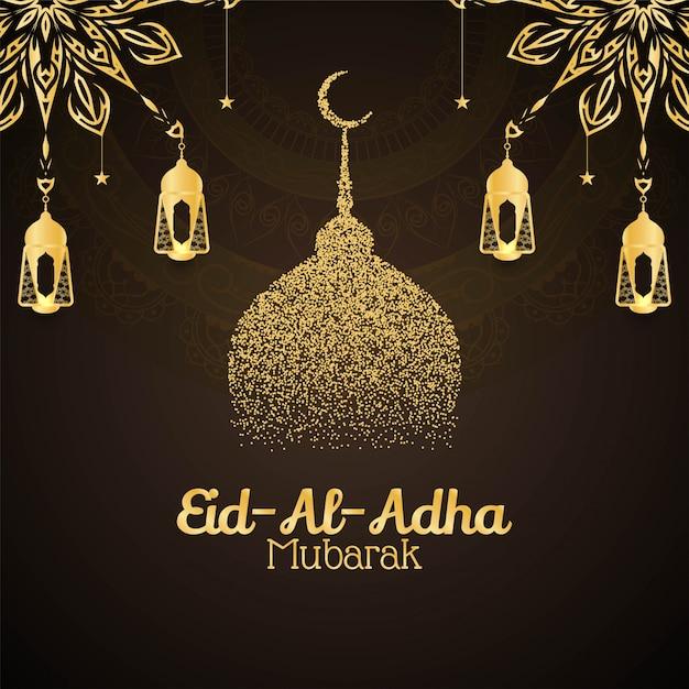 Religieuze eid al adha mubarak decoratieve kaart Gratis Vector