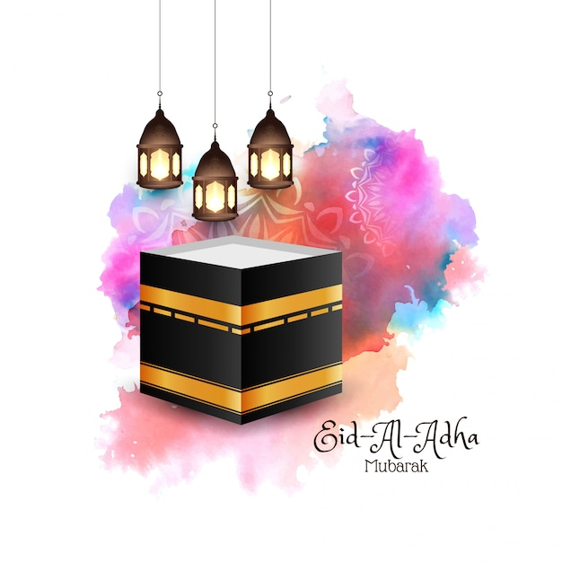 Religieuze eid-al-adha mubarak islamitische kleurrijke achtergrond Gratis Vector