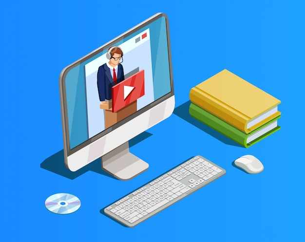 Remote learning workspace-compositie Gratis Vector