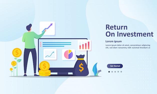 Rendement op investering, mensen die de sjabloon beheren van de landingspagina van de financiële grafiek Premium Vector