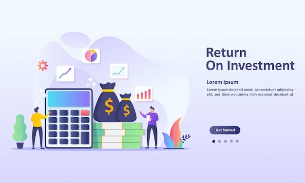 Rendement op investeringsconcept Premium Vector