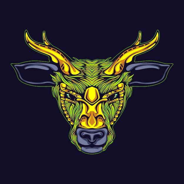 Rendieren met gouden hoornillustratie Premium Vector