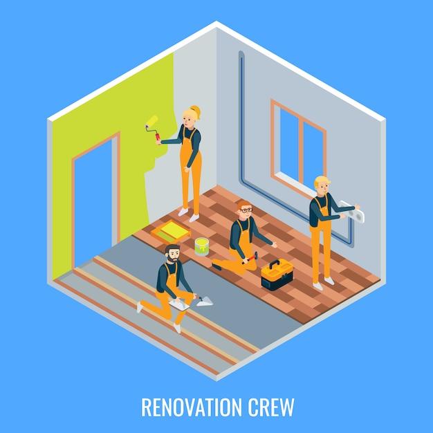 Renovatie crew plat isometrisch Premium Vector