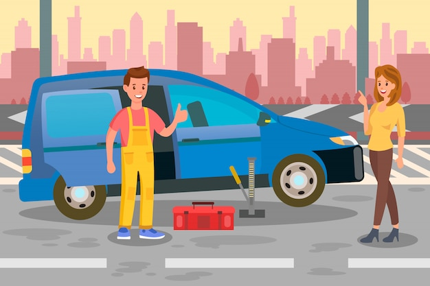 Reparateur, specialist call flat color illustration Premium Vector