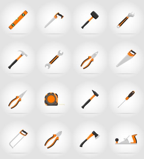 Reparatie en bouwgereedschap plat pictogrammen vector illustratie Premium Vector