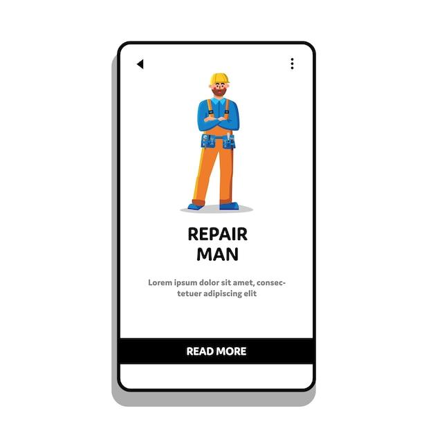 Reparatie man mechanic slijtage riem met gereedschap Premium Vector