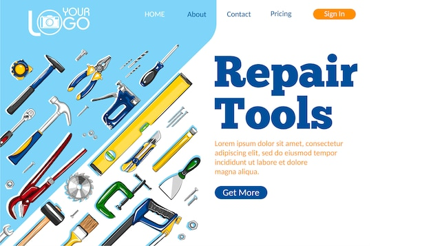 Reparatie tools bestemmingspagina-indeling Premium Vector