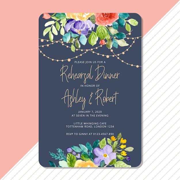 Repetitie diner uitnodiging met bloemen en string lichte achtergrond Premium Vector