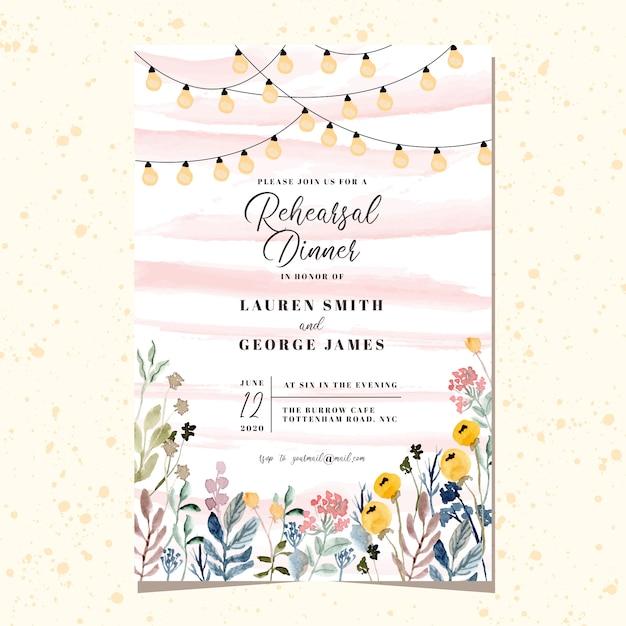 Repetitie diner uitnodiging met string licht en bloementuin aquarel Premium Vector