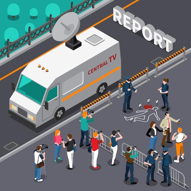 Reportage van moord scène isometrische illustratie Gratis Vector