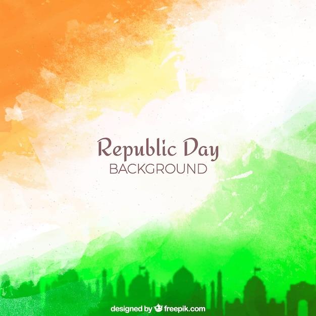 Republiek dag achtergrond met aquarel Gratis Vector